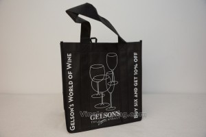 6 bottles Bag non woven with handles sewn all along main faces, silk printing