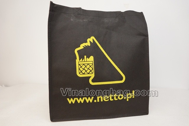 Black PP non woven bag with silk printing