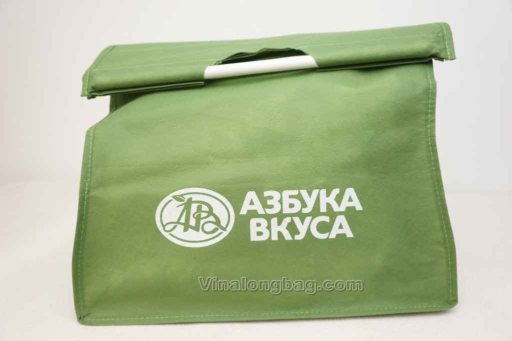 PP non woven shopping bag with plastic tube in the handle