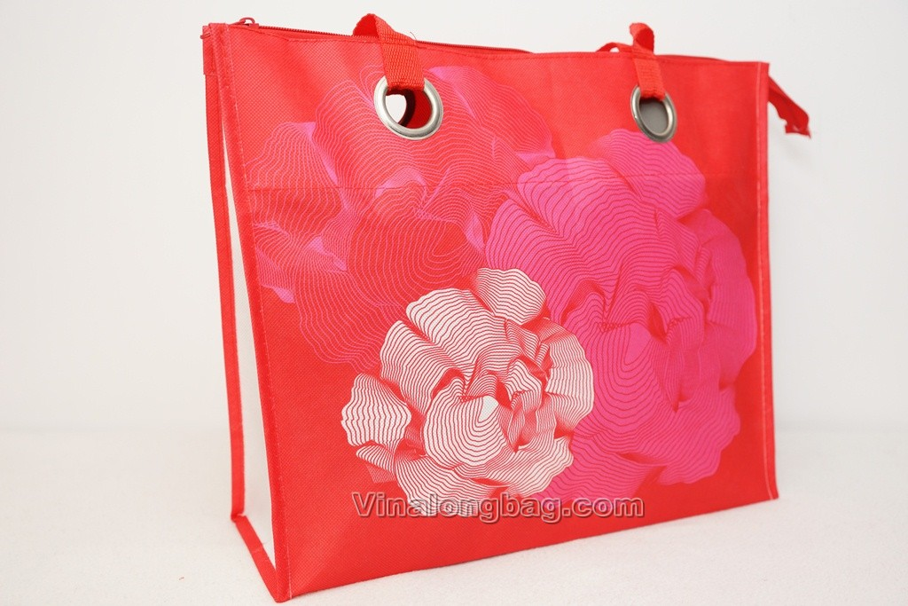 PP non woven bag with zipper and mental circles