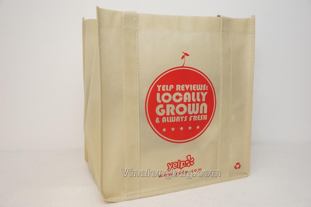 PP non woven bag with handles sewn along main faces