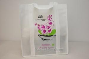 PP non woven bag handles along main face silk printing