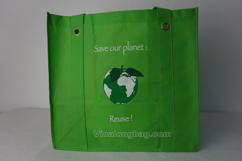 PP non woven bag with mental circles on handles